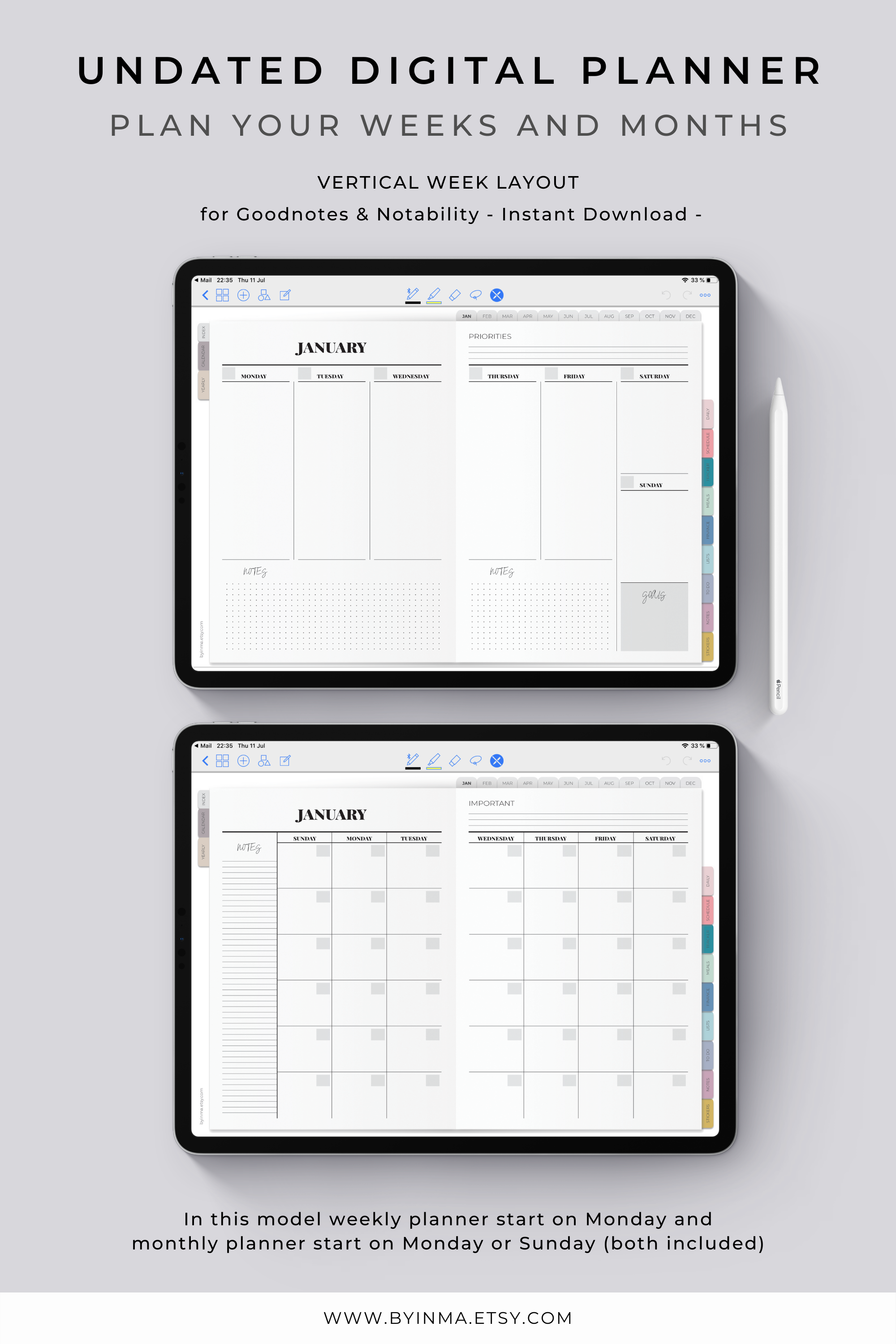 Digital Planner Goodnotes Ipad Pro Notability Template Undated Weekly Planner With Hyperlinks And Vertical Layout Color Tabs 2 Covers Digital Planner Daily Planner Pages Undated Weekly Planner