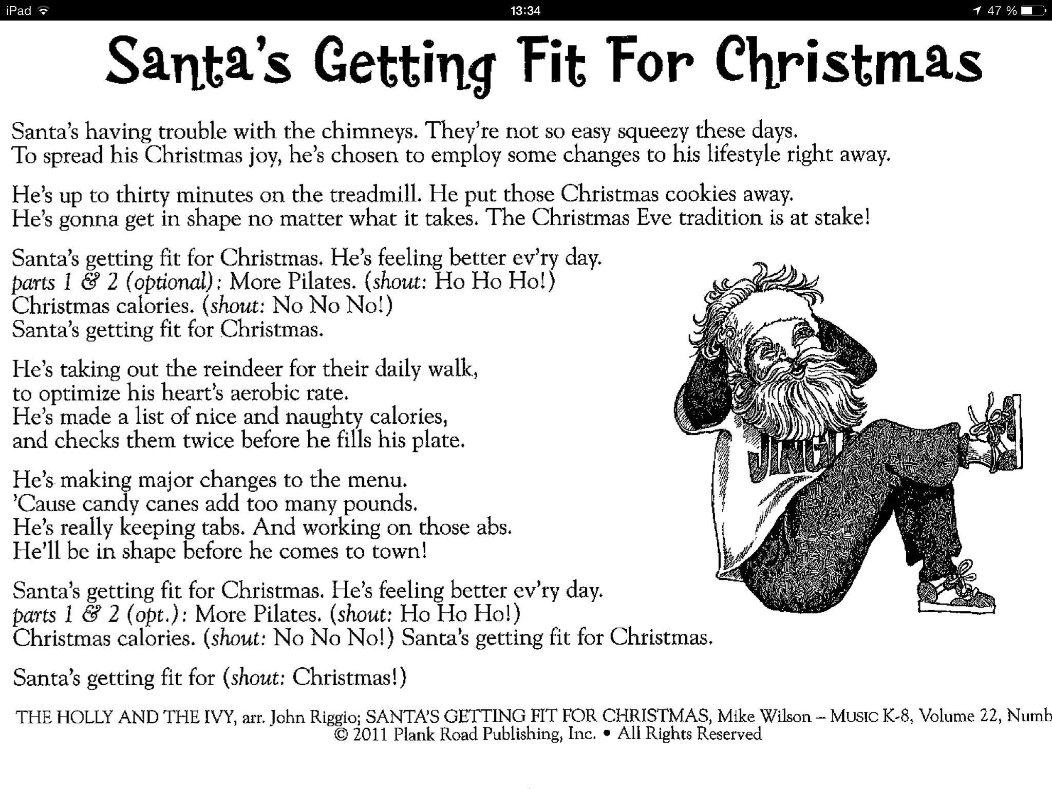 Santa's getting fit for Christmas lyrics | Christmas lyrics, Christmas songs for kids ...