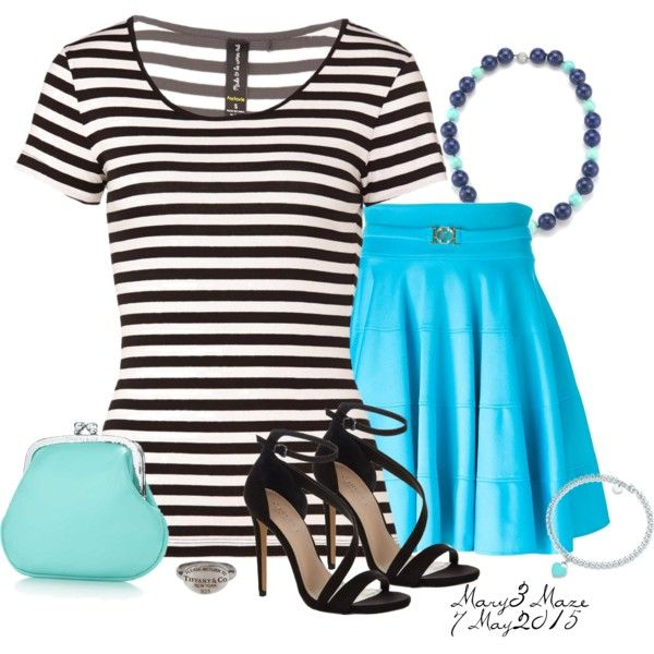 Black & White Striped Top by octobermaze on Polyvore featuring polyvore, fashion, style, Versace, Carvela Kurt Geiger, Tiffany & Co., blackandwhite and stripedtop
