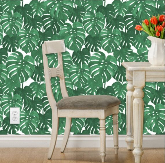 Banana Leaf Wallpaper - Monstera Plant Tropical Palm by Charlotte Winter - Custom Removable Self Adhesive Wallpaper Roll by Spoonflower