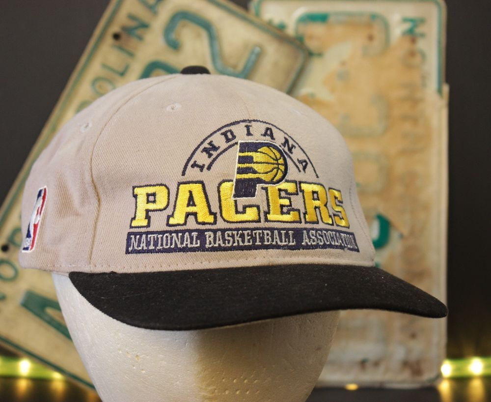 Vintage Indiana Pacers Snapback Hat Baseball Cap Gray NBA Lee Sport Large  Logo 57c074723f