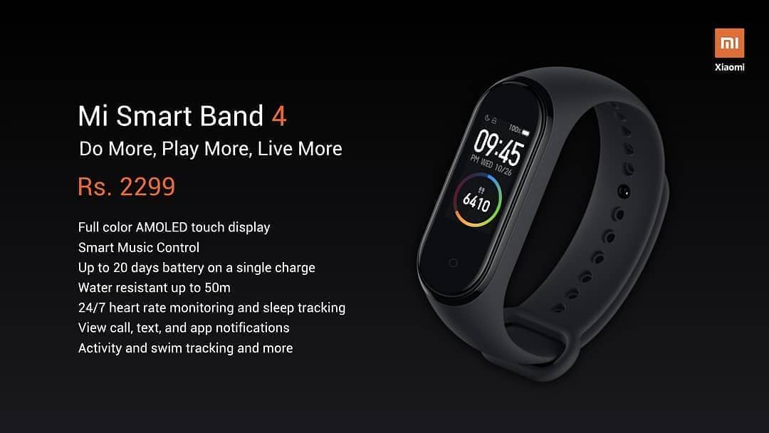 Presenting new Mi Smart Band 4. Here's a quick look at the specs:  #MiSmartBand4 > Full color AMOLED...