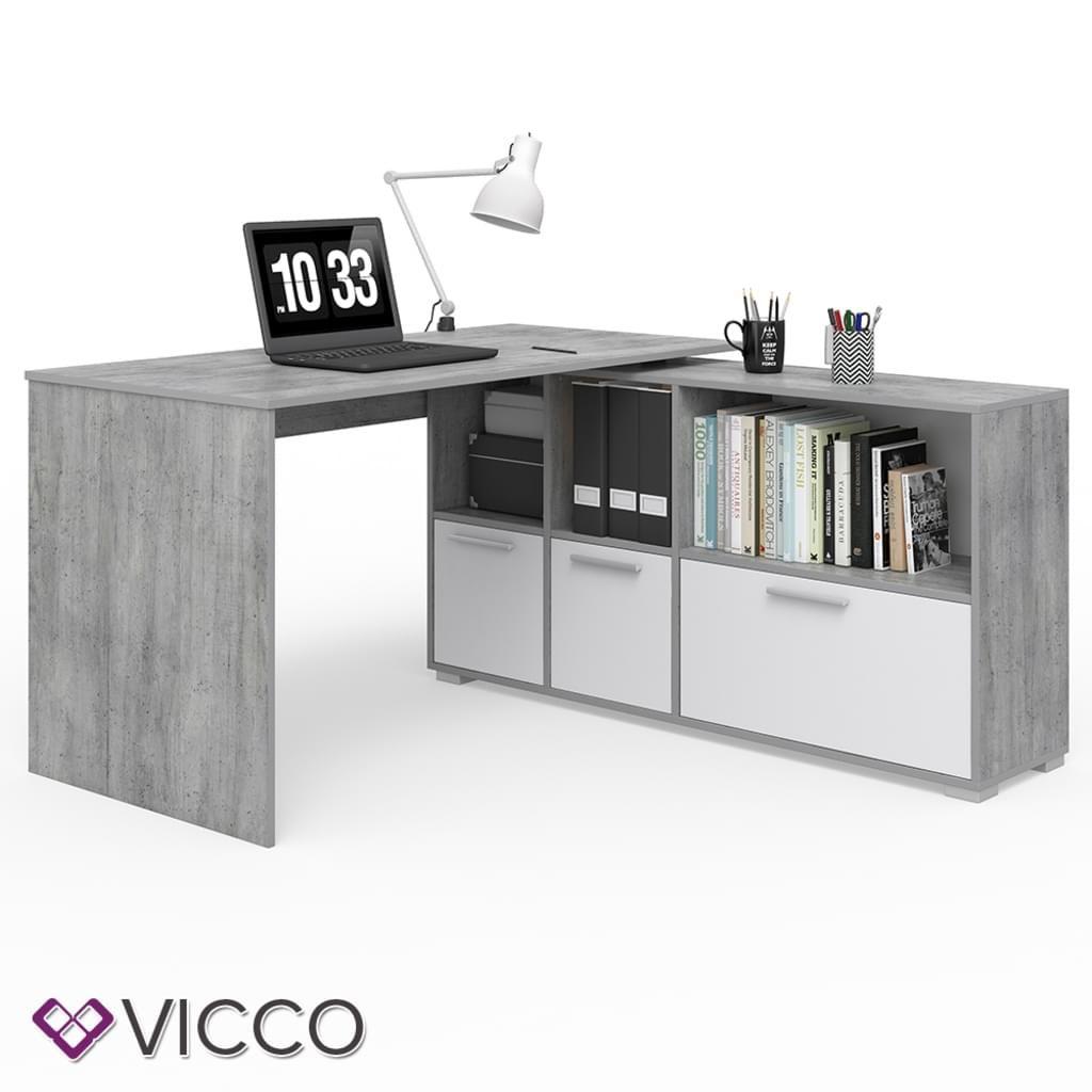 Vicco Eckschreibtisch Beton Optik Weiss Bild 3 Eckschreibtisch Schreibtisch Weiss Burotisch