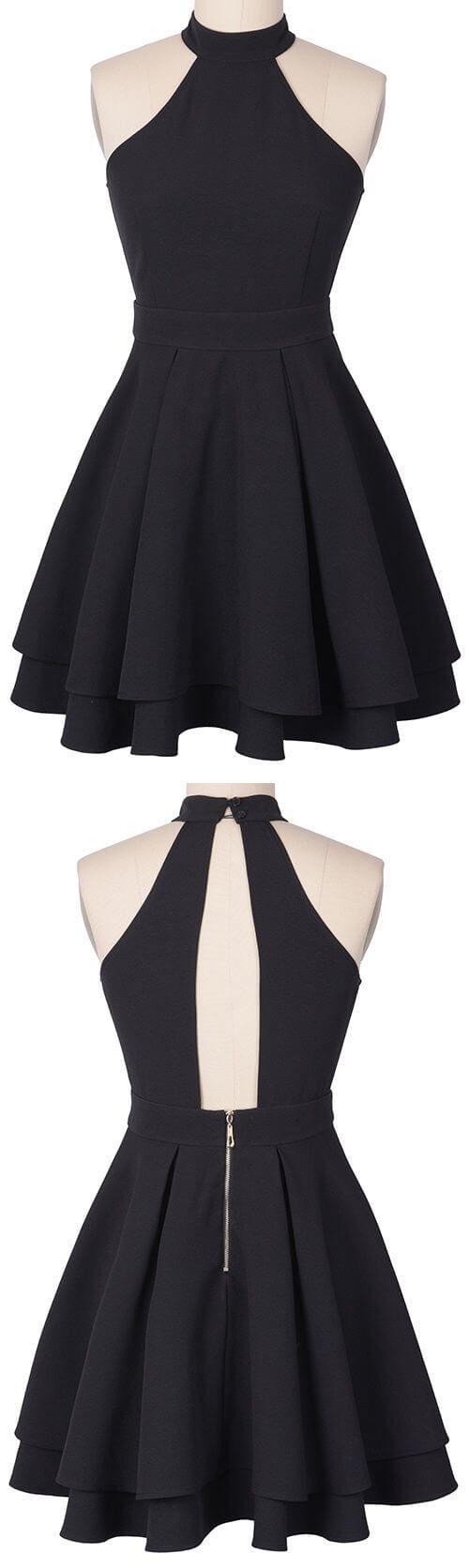 Halter black open back homecoming dress party dressesed high