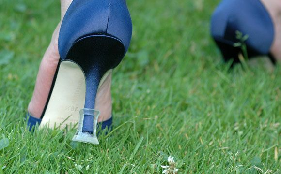 solemates - by increasing the surface area on the base of the heel, it reduces the pressure on this area and prevents the heel from sinking into grass or falling into cracks. GREAT idea for outdoor weddings