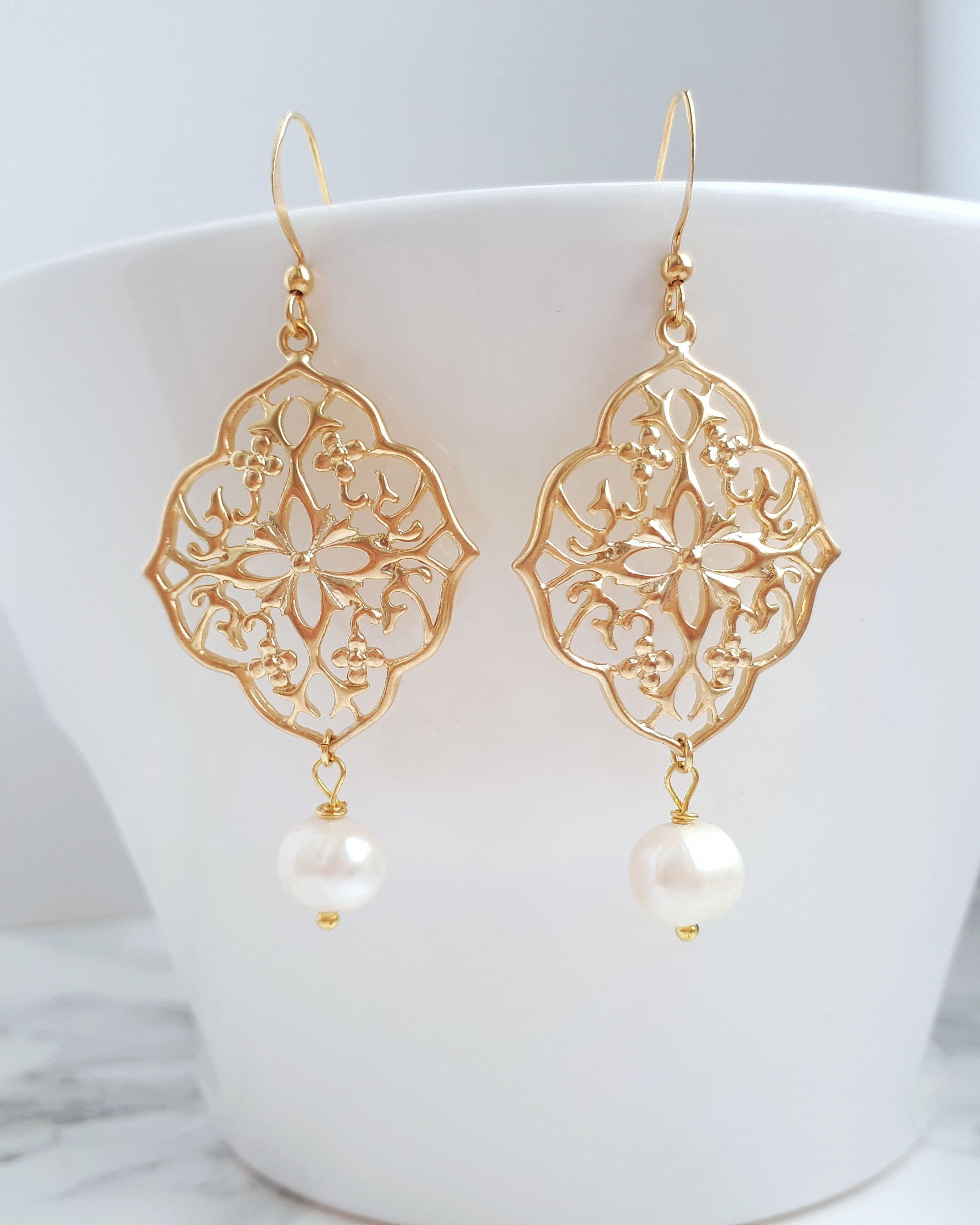 Pearl Gold Earrings Boho Pearl Earrings Pearl Chandelier