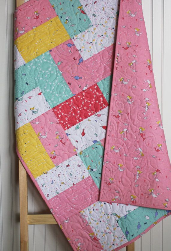 Modern Mermaids Baby Quilt Girl Under The Sea Narwhal Turtles