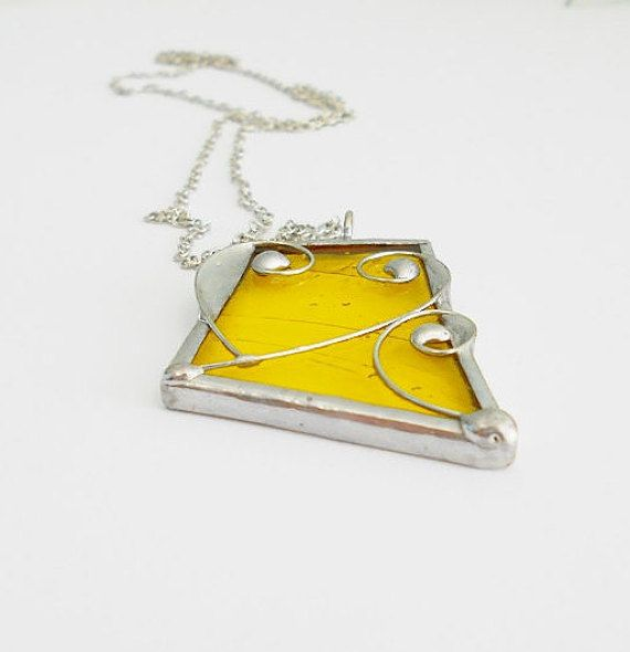Stained glass necklace yellow pendant tiffany technique, yellow heart gift