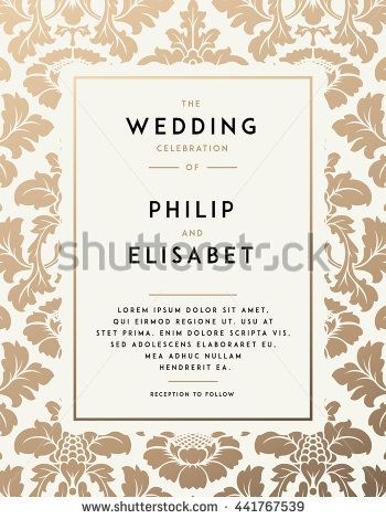 Vintage Wedding Invitation Template Modern Design Wedding