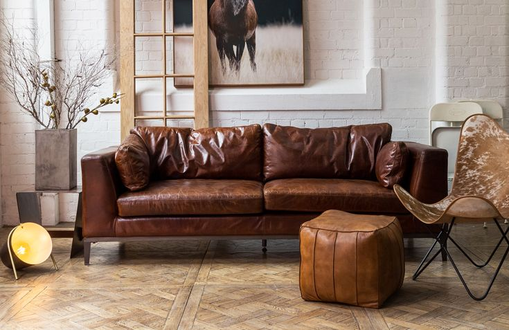 Gala 3 Seater Leather Sofa, Vintage Cigar | Leather Sofas, Cigar And  Melbourne