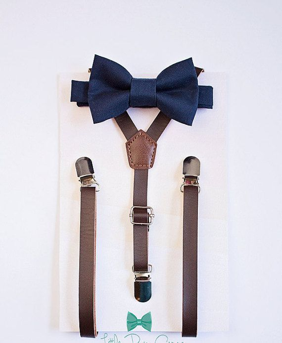 Boys Dark Brown Leather Suspenders And Navy Bowtie Boys