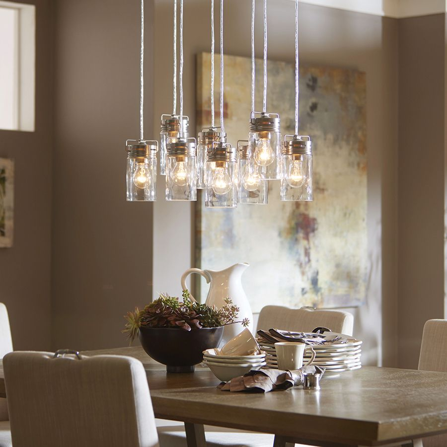 Allen roth vallymede brushed nickel barn multi light clear glass jar pendant - Kichler dining room lighting ideas ...