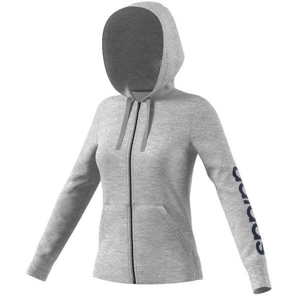 adidas Women s Essentials Linear Full-Zip Hoodie Grey Jackets M ( 55) ❤  liked ad1a358874c