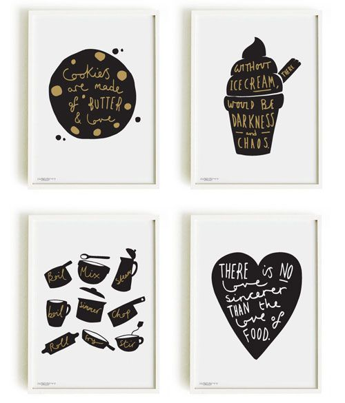 Kitchen Poster Food As Alphabet With Food Name: Old English Company Kitchen Prints Simple Kitchen Icons