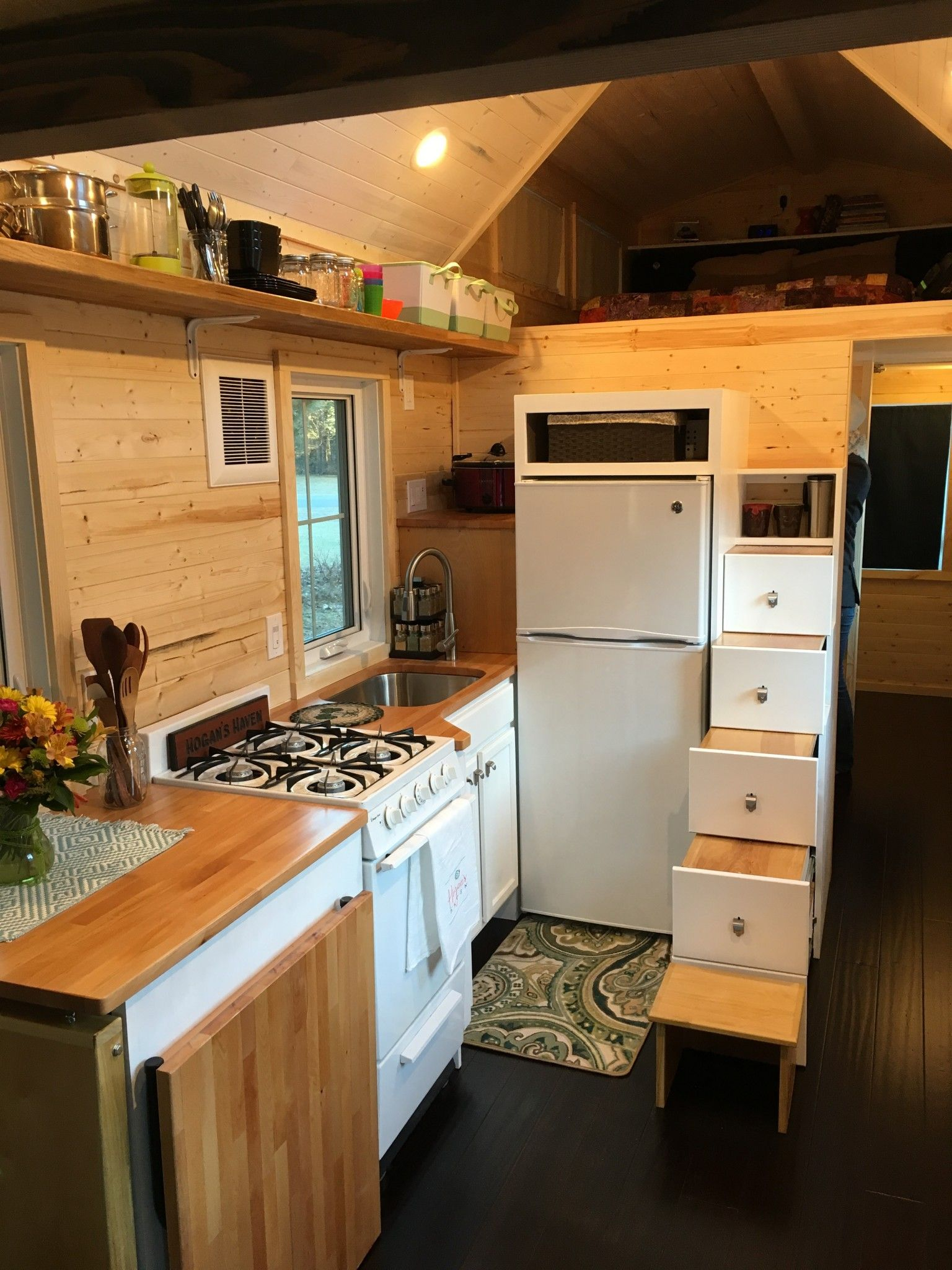 View toward kitchen the alpha tiny home by new frontier tiny homes - Tiny House Completed Kitchen As Seen On Hgtv Tiny House Big Living