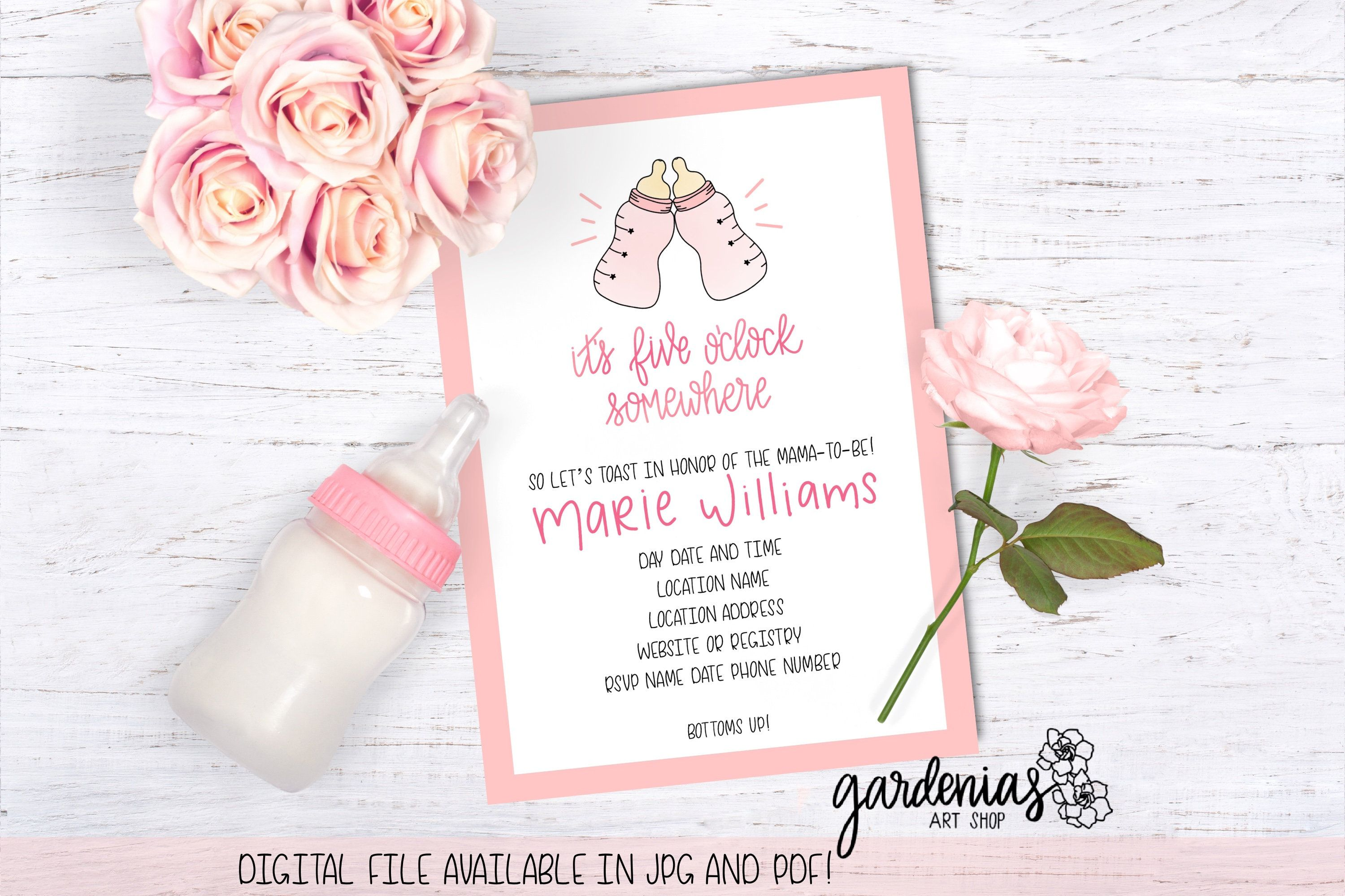 Funny Girl Baby Shower Invitation Baby Bottles Baby Shower Invite Semi Customizable Baby Shower Invite Digital Download Invitation With Images Baby Shower Invites For Girl Baby Shower Invitations Shower Invitations