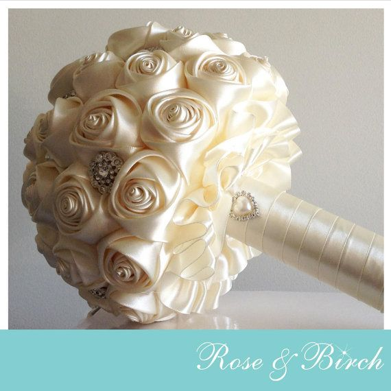 MADE TO ORDER Bridal/Wedding Bouquet Satin Roses & Brooches Handmade Vintage Inspired Alternative