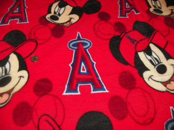 Anaheim Angels and Mickey Mouse Fleece by SusiesFancyFleece, $35.00
