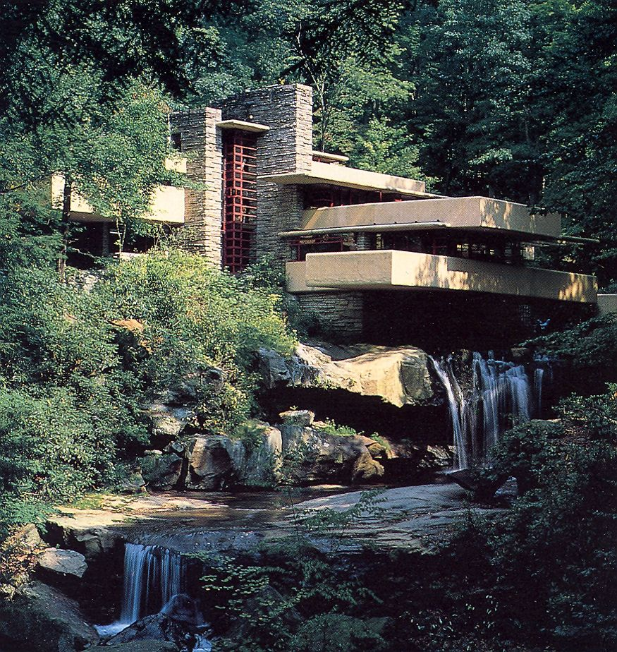 fallingwater 1936 38 a house whose reinforced concrete floor slabs are cantilevered over a. Black Bedroom Furniture Sets. Home Design Ideas