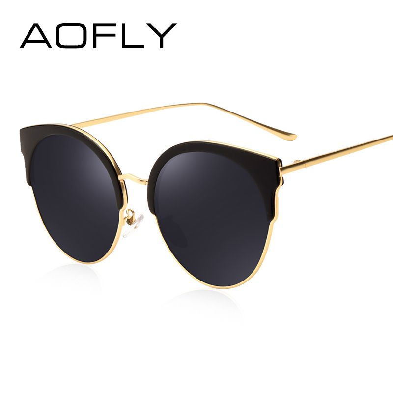 AOFLY Hot Fashion Sunglasses Women Brand Designer Vintage Retro Cat Eye Sunglasses  Female Half Frame Coating 8ba3acd0e8