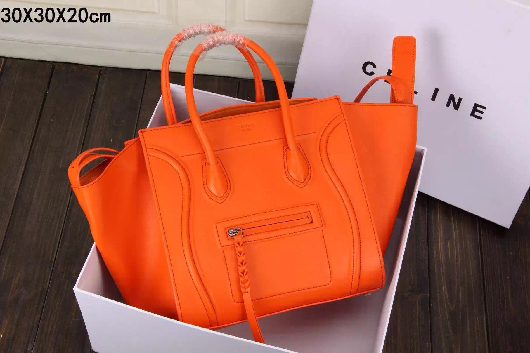 b758919811 Celine Luggage Phantom Bag in Orange Smooth Calfskin Leather ...