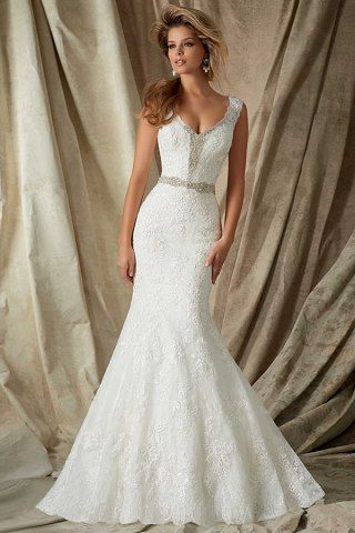V-Neck Lace Dress Mori Lee