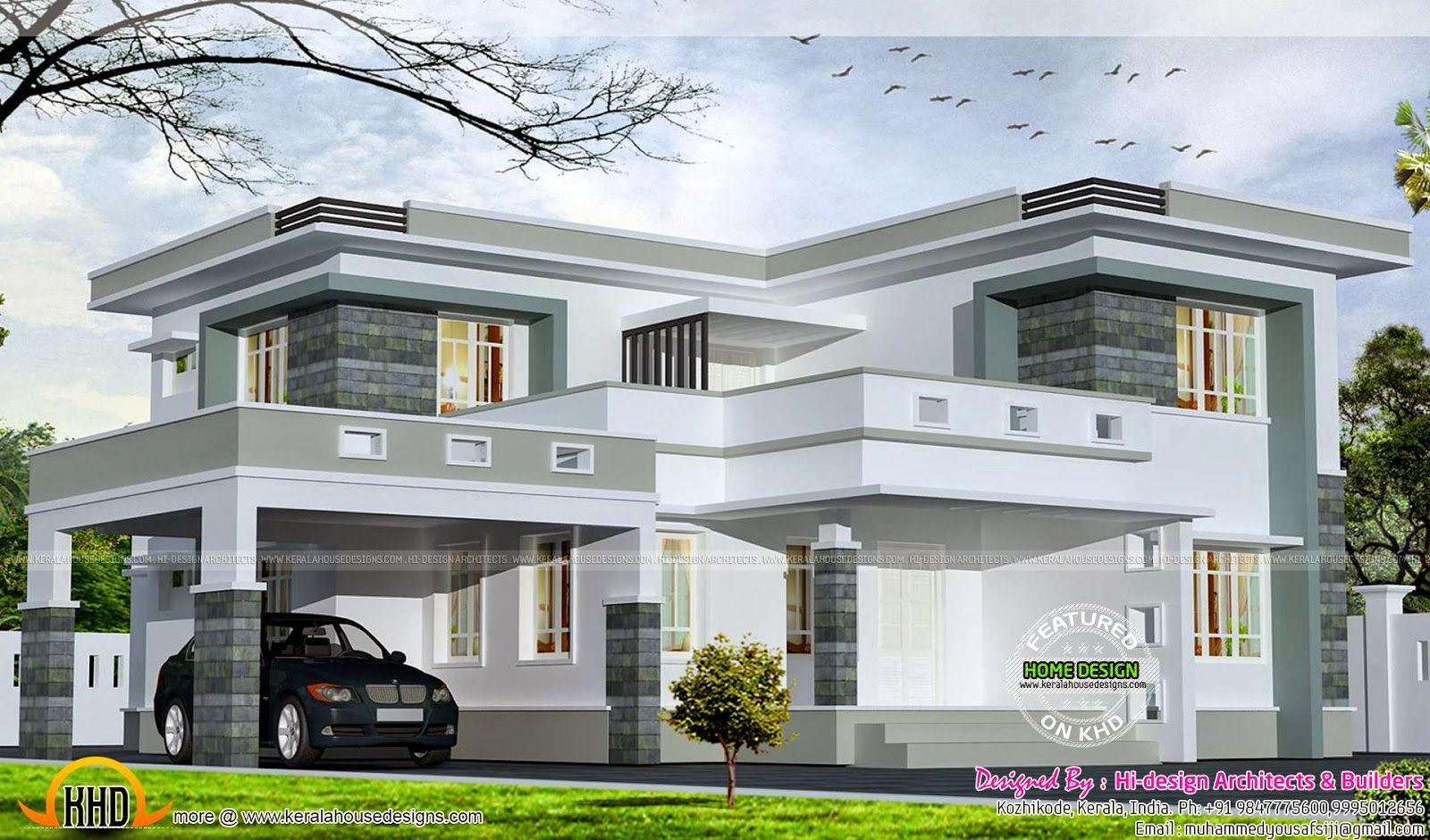 Square feet flat roof home kerala house designmodern also pin by thato on in design plans rh pinterest