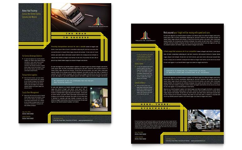 Transporting Services Templates for Flyers Trucking \ Transport - microsoft templates for flyers