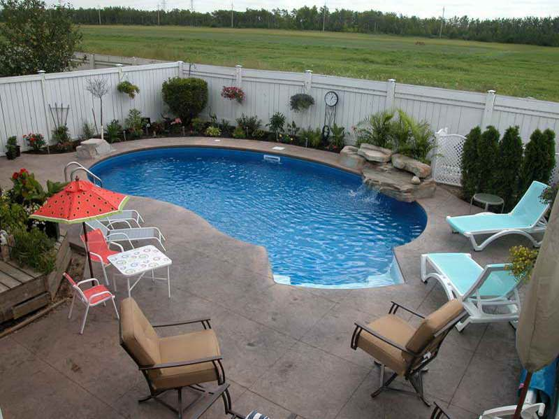 Delightful Small Kidney Shaped Inground Pool Designs For Small Backyard With Outdoor  Furniture