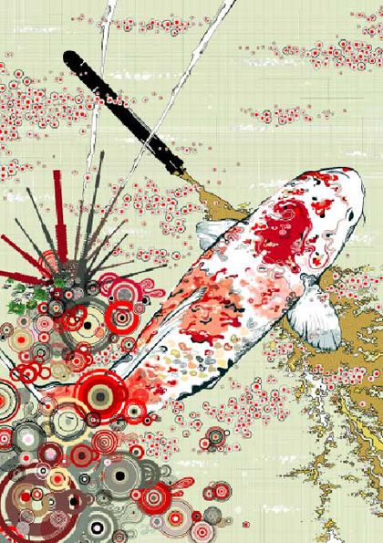 Koi carp by japanese artist chichi love these colors for Japanese carp art