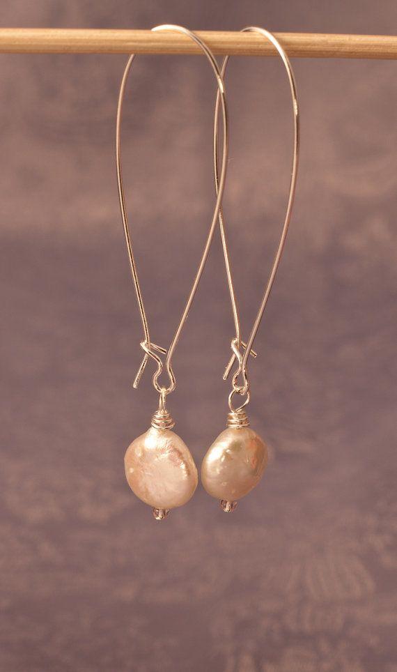 Coin Pearl on Large Kidney Wire Earrings | Pinterest | Wire earrings ...