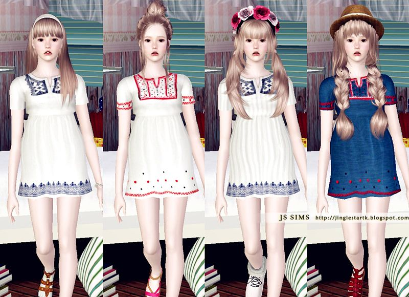 JS SIMS 3] Lovely Embroidered Dress | JS SIMS 3 | Sims 3 CC Clothing ...