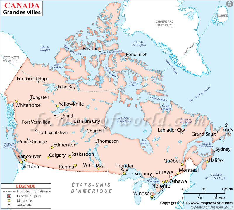 map showing major cities in canada canadacities
