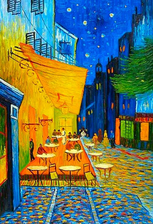 The Café Terrasse On The Place Du Forum Arles At Night