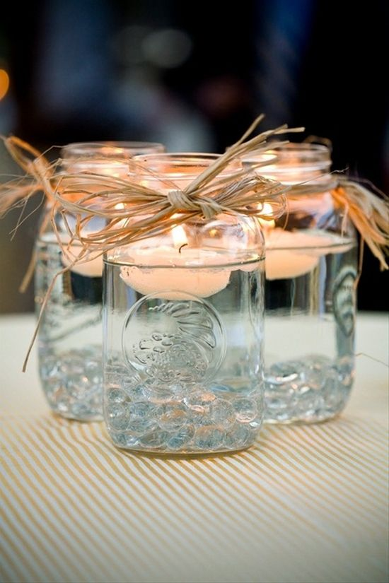 Mason Jar centerpieces - Click image to find more Weddings Pinterest pins