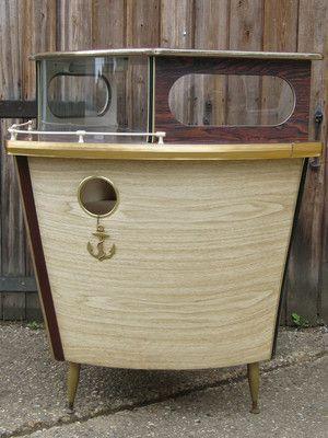 1950s Vintage Nautical Boat Retro Drinks Storage Cabinet Kitsch Cocktail Bar Vintage Bar Drink Storage Vintage House