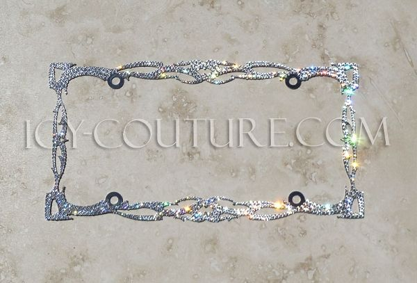Bling 1 Row License Plate Frame made with Swarovski Crystals Car Jewelry