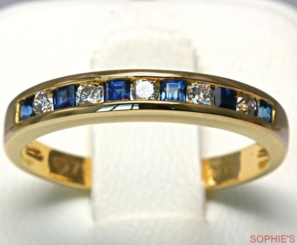 Genuine Blue Sapphire & Diamond Wedding Band Ring Solid 18K Yellow Gold All Size