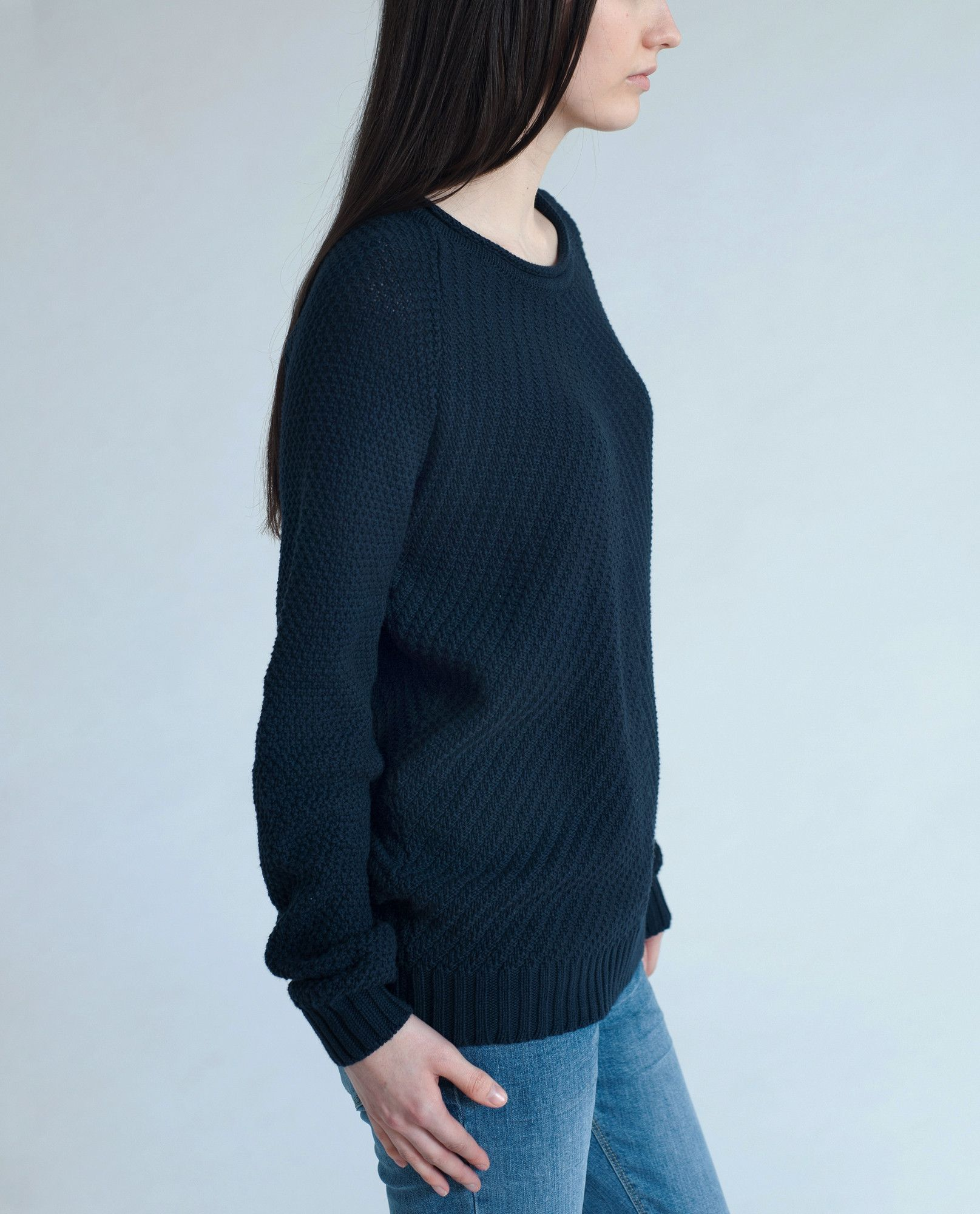 ALECIAN Knitted Cotton Jumper In Navy by Beaumont Organics (UK ...