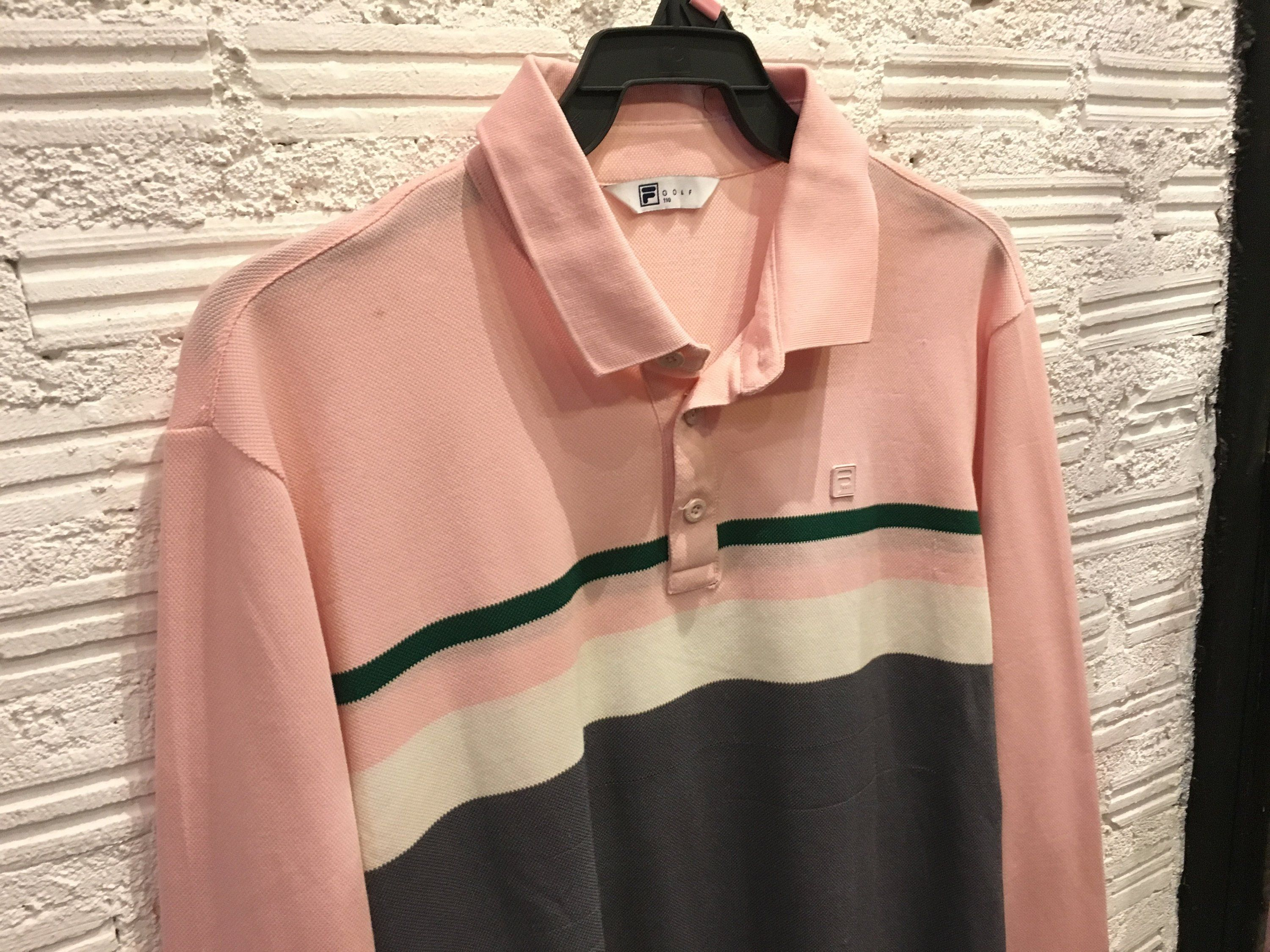 cf9191bd Vintage Fila polo shirt long sleeve color block multi color striped  embroidered logo Pink pastel Size L Excellent condition by AlivevintageShop  on Etsy