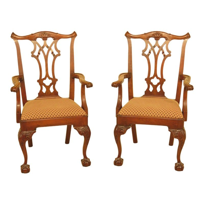 Statton Chippendale Cherry Ball Claw Arm Chairs A Pair