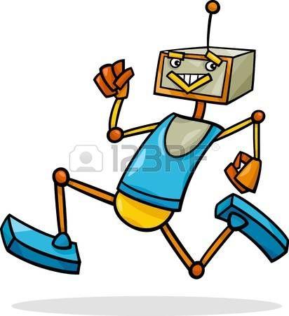 Ilustraci n de dibujos animados de Robot Correr Divertido photo