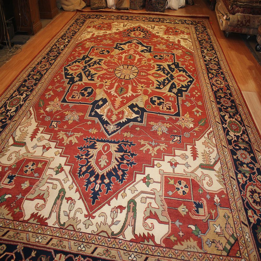 Area Rugs Hand Knotted Persian Rug Brick Red Rectangle Wool 11 X 17 Over Size Oversized Area Rugs Rugs Hand Knotted Persian Rug