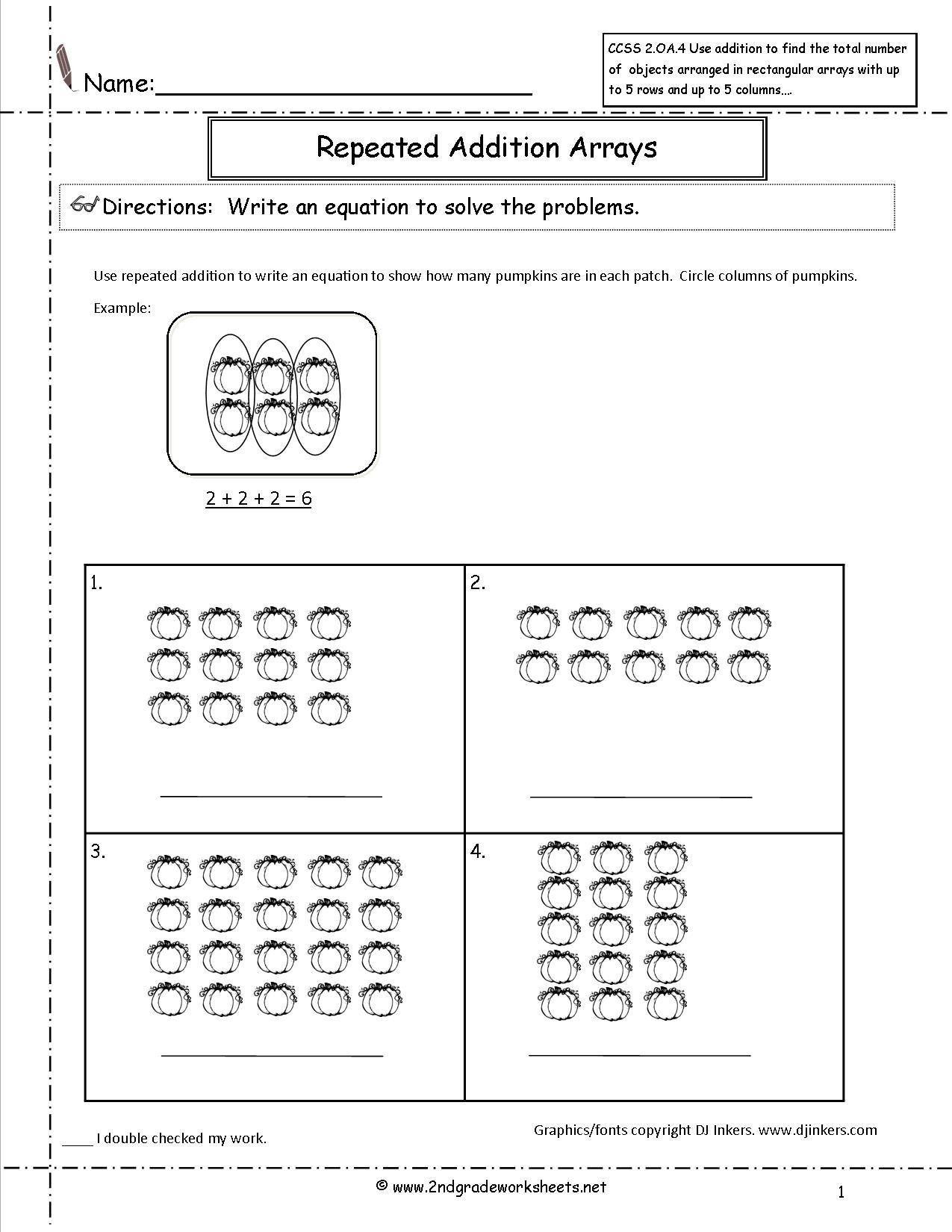 Division with Arrays Worksheet Pumpkins Repeated Addition Worksheet in 2020    Repeated addition worksheets [ 1650 x 1275 Pixel ]