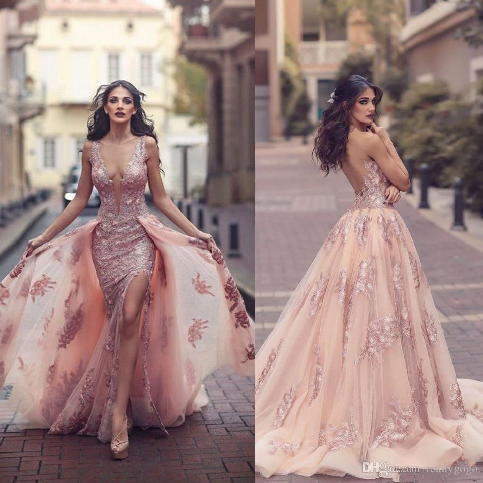 e6ecee0172b0 2018 Modest Blush Pink Lace Floral Prom Pageant Dresses with Detachable  Train Sexy Split V-neck Dubai Arabic Princess Occasion Evening Gown Prom  Dress with ...