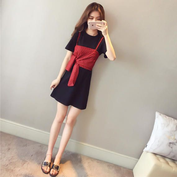 1bd5a8253a1 T-shirt skirt female summer 2018 new Korean chiffon sling + short-sleeved t-shirt  skirt was thin carefully machine dress