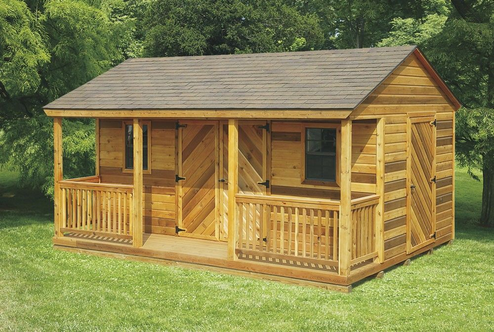 Amish Cedar A Frame Shed With Full Length Porch Kit Choose Size Shed To Tiny House Cedar Shed Shed