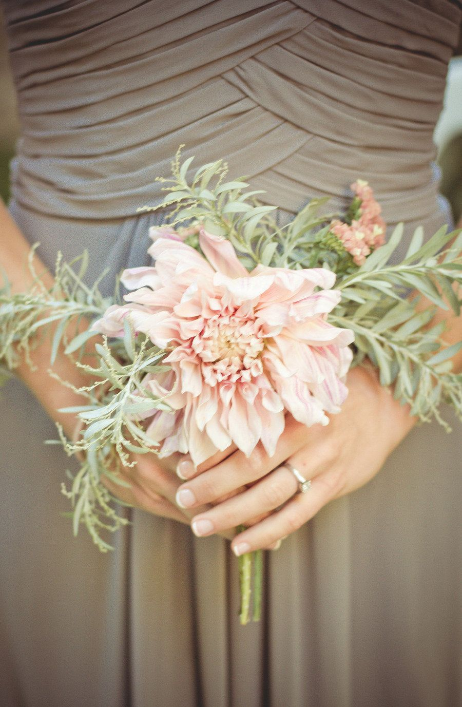 Southern california wedding from matt grashaw shurie saxelby a feathery dusty miller with one dahlia single flower bouquetflower izmirmasajfo Choice Image