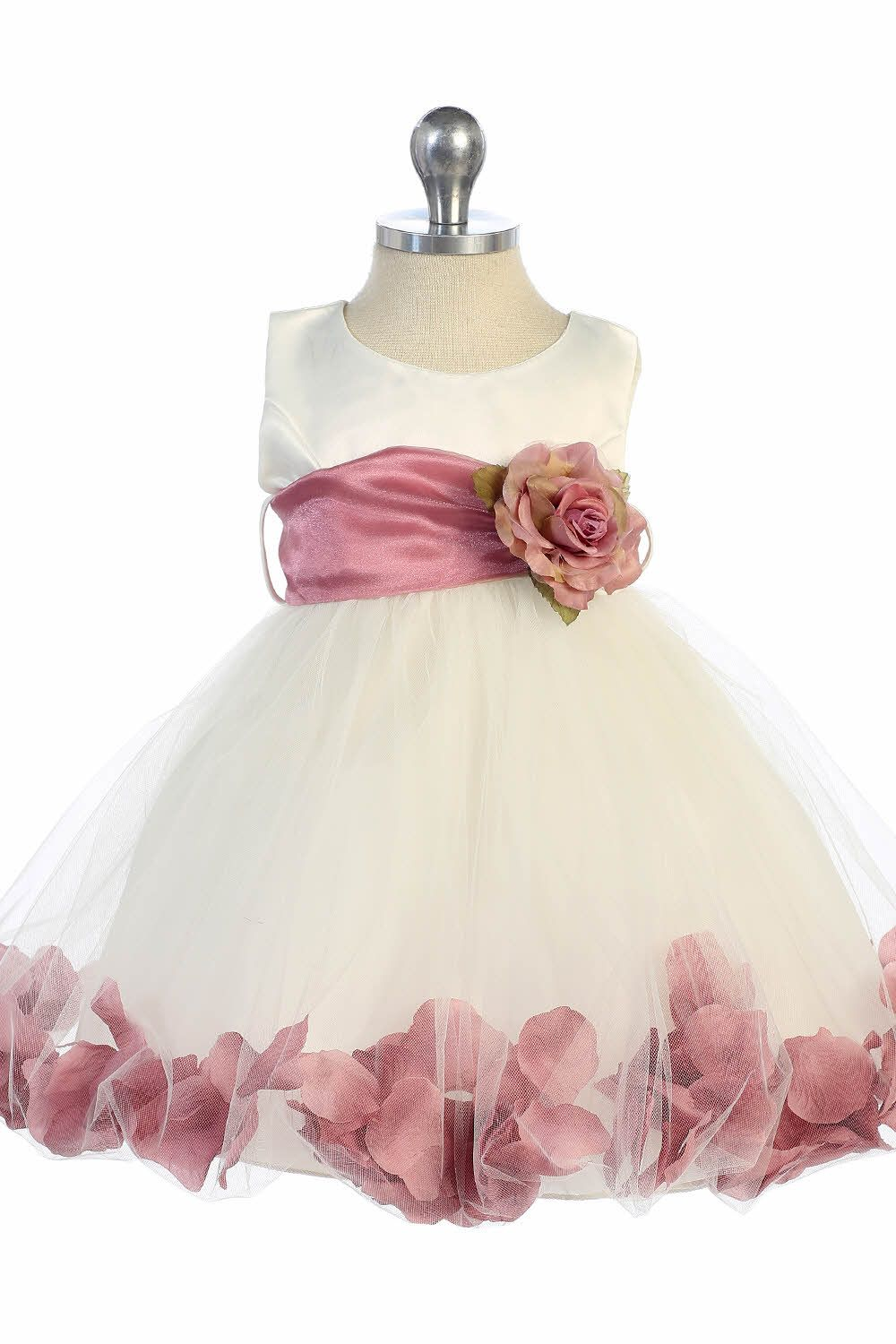 Ivory/Mauve Satin & Tulle Infant Flower Girl Dress with Petals ...