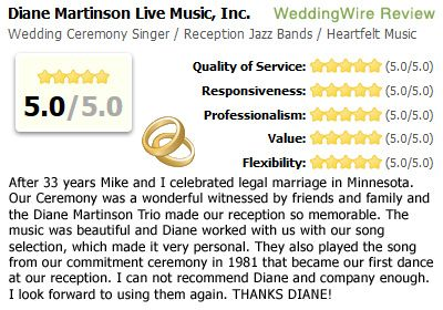 Diane Martinson Live Music Inc WeddingWire Review For Wedding Ceremony Singer Reception Jazz